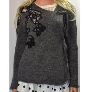 Anthro Moth Frosted Panes Wool Wrap Sweater